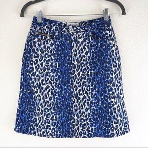 Dolce&Gabbana Leopard Blue Denim Miniskirt